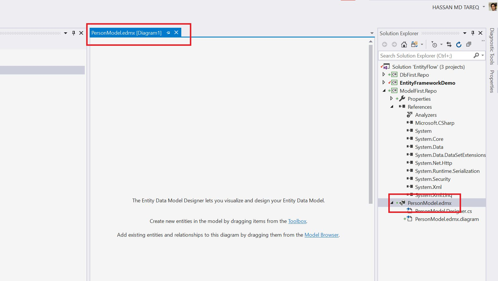 Entity Framework Model Fisrt Approach - Creating edmx Step 6